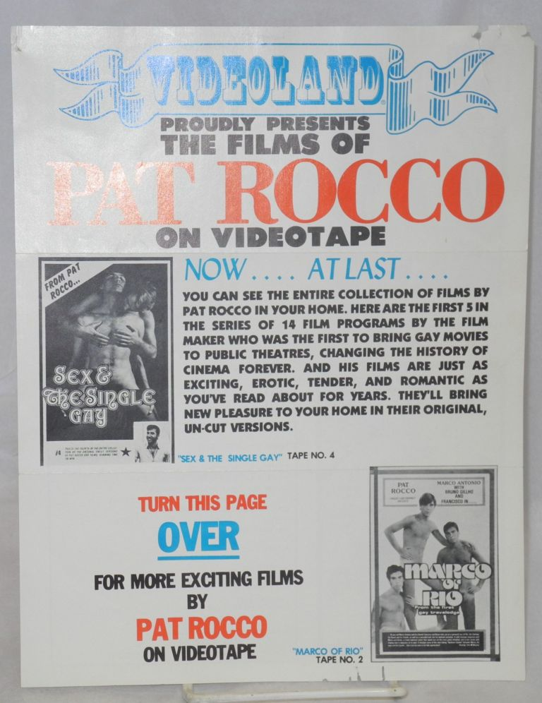 Videoland proudly presents the films of Pat Rocco on videotape: brochure/handbill. Pat Rocco.