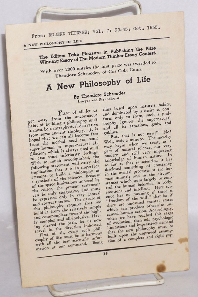 A new philosophy of life. Theodore Schroeder.