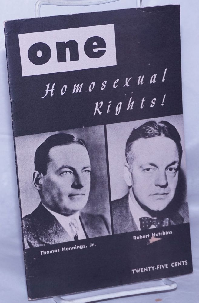 One; the homosexual magazine volume four, number 1, January 1956; Homosexual rights! Ann Carll Reid, Donald Webster Cory, Lyn Pedersen.