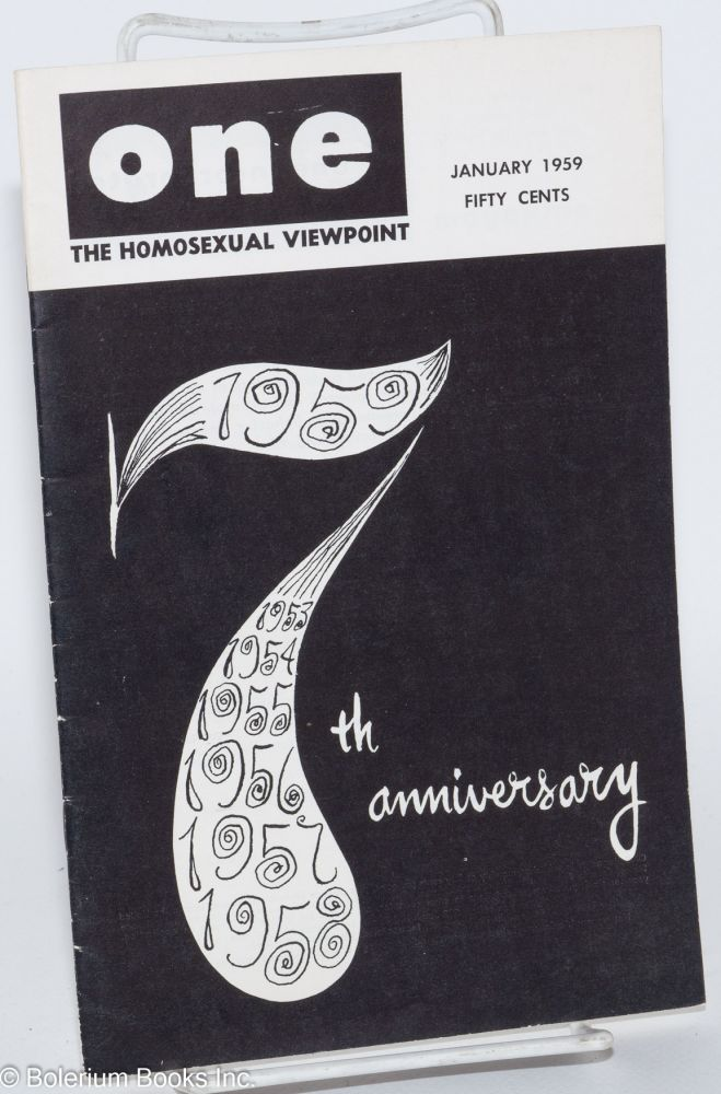 One magazine; the homosexual viewpoint; volume seven, number 1, January 1959; 7th anniversary issue. Don Slater, , Lyn Pedersen, Tram Combs, Dal McIntire.