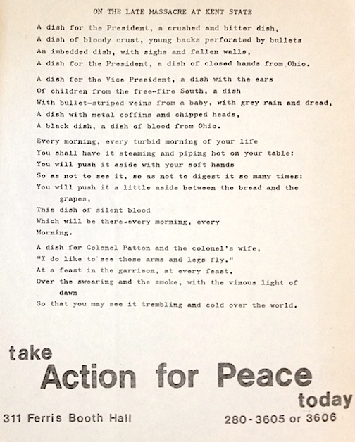 On the late massacre at Kent State [poetry handbill]. Action for Peace.