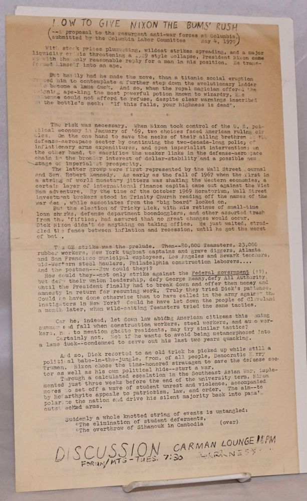 Now to give Nixon the bum's rush (a proposal to the resurgent anti-war forces at Columbia) [handbill]. Columbia Labor Committee.