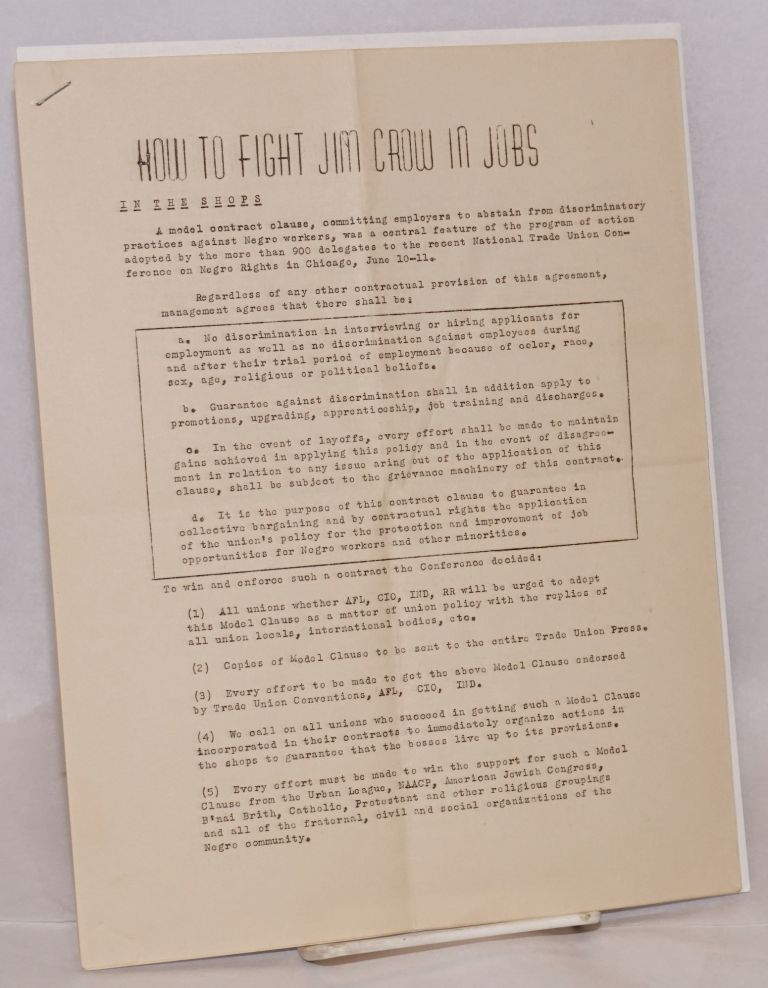 How to fight Jim Crow in Jobs. Communist Party of California.