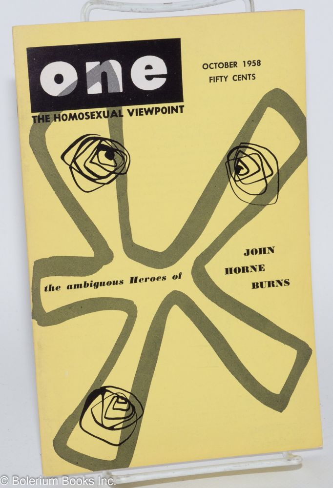 One magazine; the homosexual viewpoint; volume six, number 10, October 1958. Don Slater, William Lambert, Lyn Pedersen.