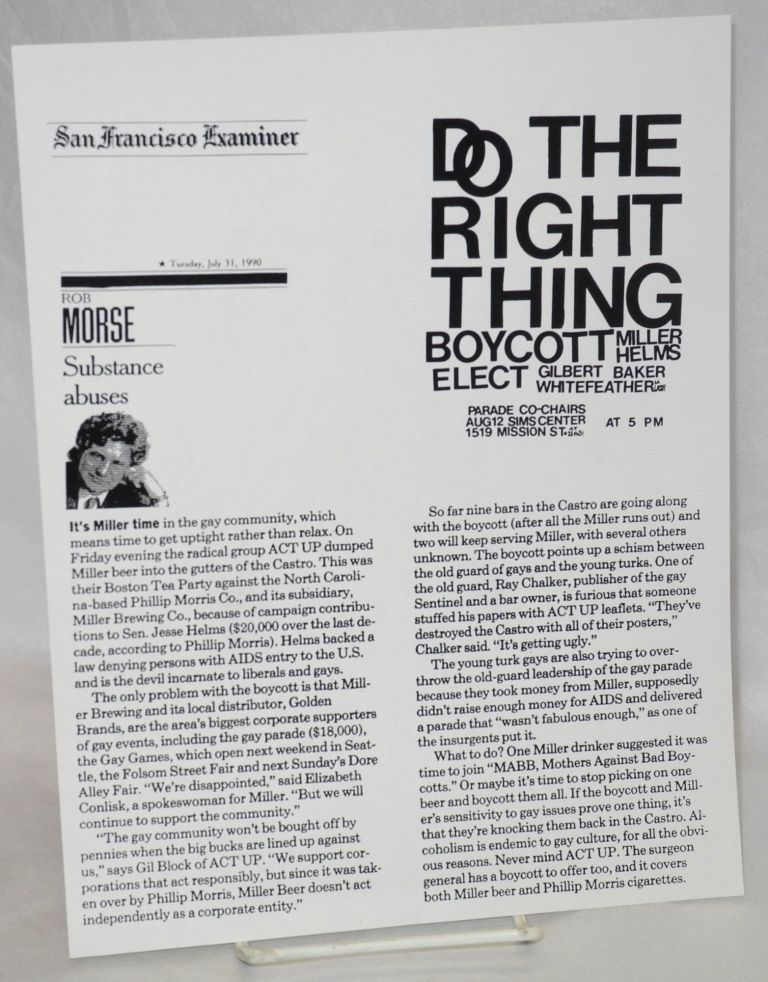 Do the right thing / Boycott Miller, Helms / Elect Gilbert Baker, Whitefeather La Lash / Parade Co-Chairs [handbill]. ACT UP.