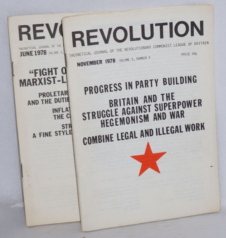Revolution. Theoretical journal of the Revolutionary Communist League of Britain. [Two issues: Volume 3, nos. 2 and 4]