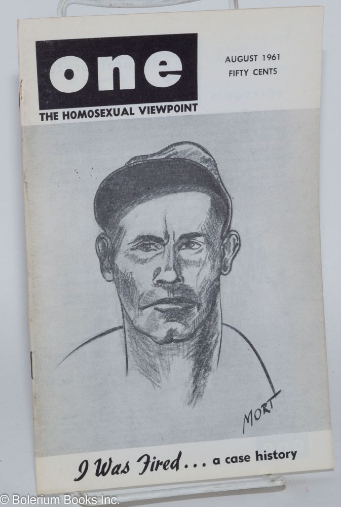 One magazine; the homosexual viewpoint; volume nine, number 8, August 1961. Don Slater, William Lambert, Robert Gregory, Del McIntire, aka Jim Kepner.