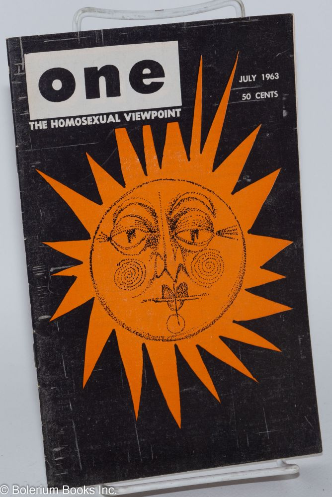One magazine; the homosexual viewpoint; volume eleven, number 7, July 1963. Don Slater, Richard Conger, James Ramp, Gail Chugg.