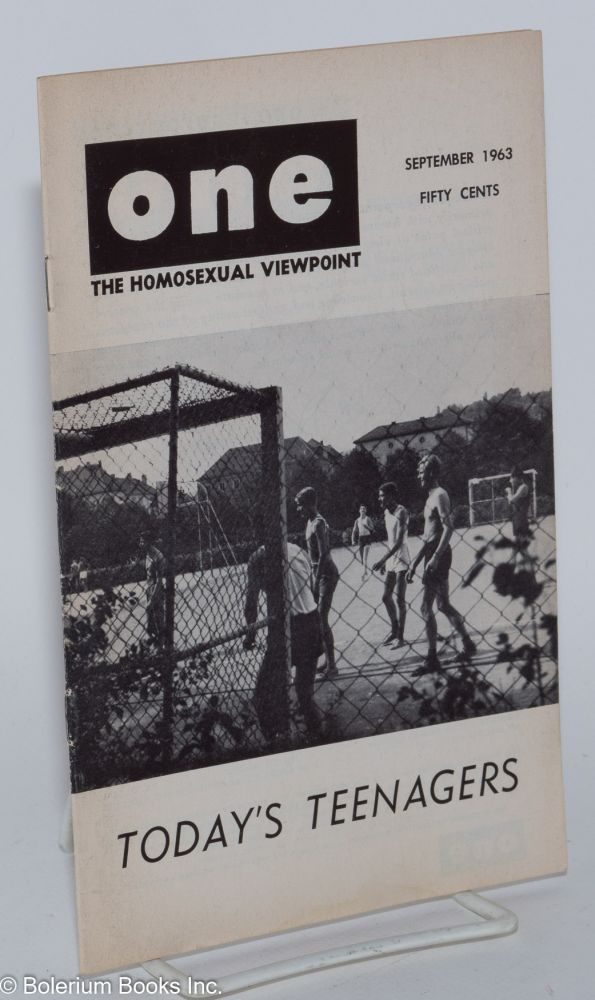 One magazine; the homosexual viewpoint; volume eleven, number 9, September 1963. Don Slater, Richard Conger, Jeremy Stratton, Robert Vajack.