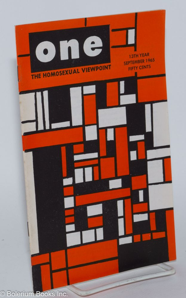 One magazine; the homosexual viewpoint; vol. 13, #9, September 1965. Richard Conger, , Robert Gregory, Charlotte, R. H. Crowther.