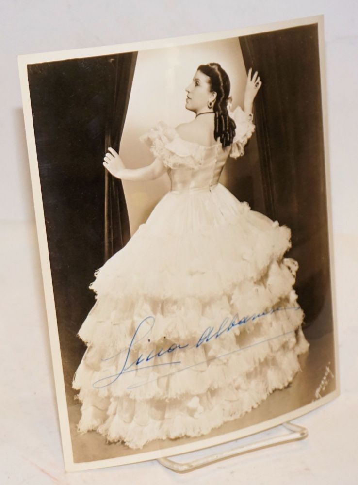 "8x10 sepia photograph of Licia Albanese as Violetta in ""La Traviata,"" signed. J. photographer Abesch, Licia Albanese."