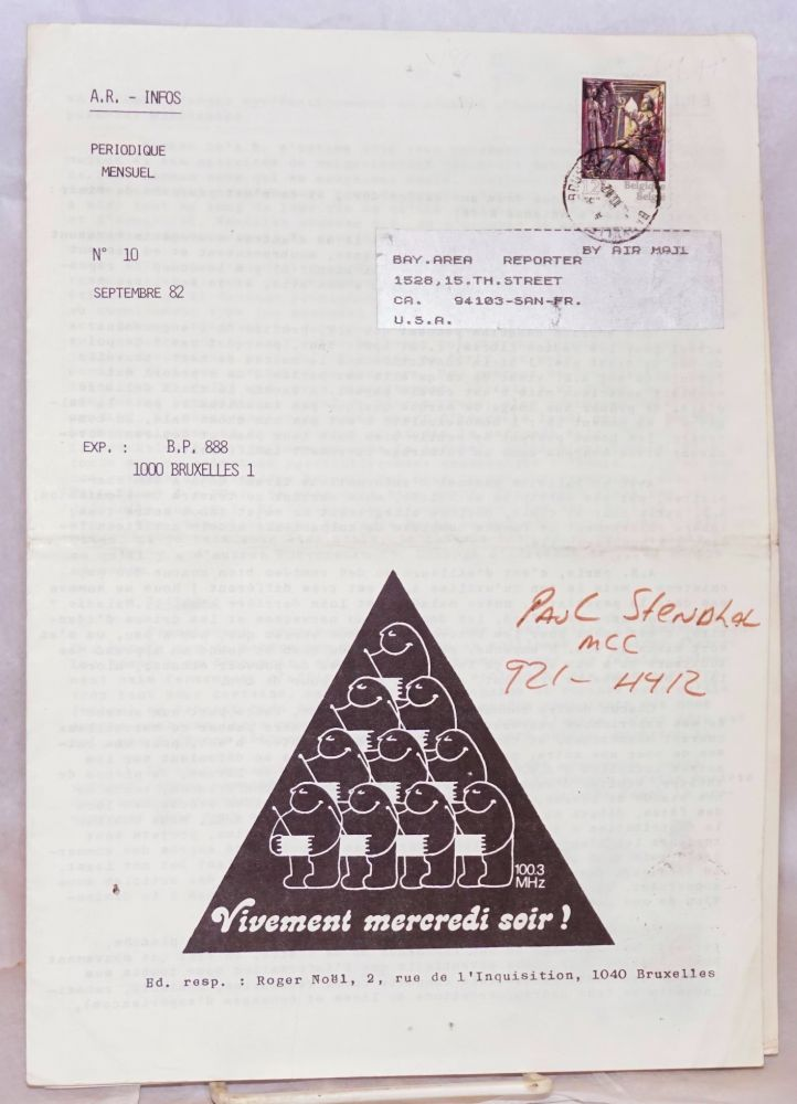 A. R. - Infos: periodique mensels; nos. 10 & 11, Septembre-Octobre 1982 (two issue run of the Antenne Rose newsletter). Roger Noël, , Roger Peyerfitte.