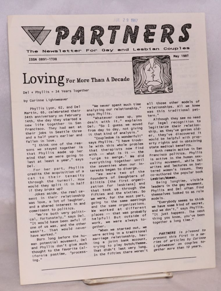 Partners: the newsletter for gay and lesbian couples; July 1987. Corinne Lightweaver, Del Martin, Phyllis Lyon.