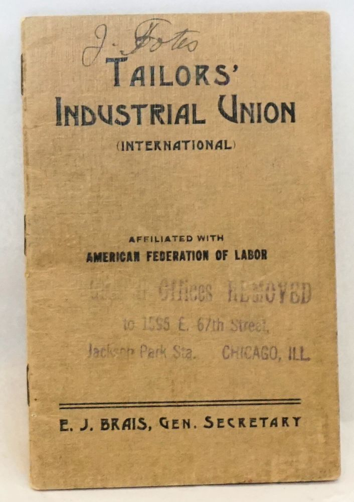 [Membership booklet with dues records]. Tailors' Industrial Union, International.