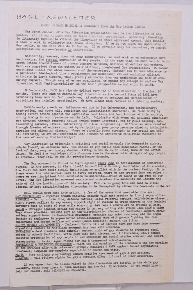 BAGL newsletter [undated issue]. Bay Area Gay Liberation, Howard Wallace, Gay Action Caucus.