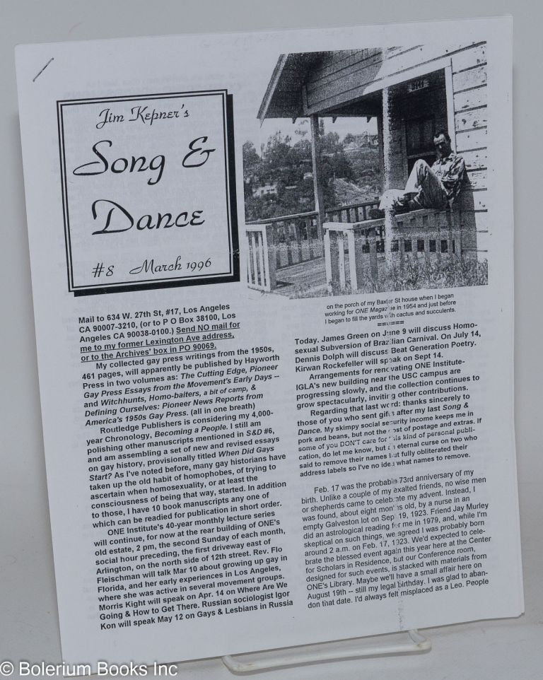 Jim Kepner's song and dance: #8 & #9, March 1996 & 1997 [two issues]. Jim Kepner.