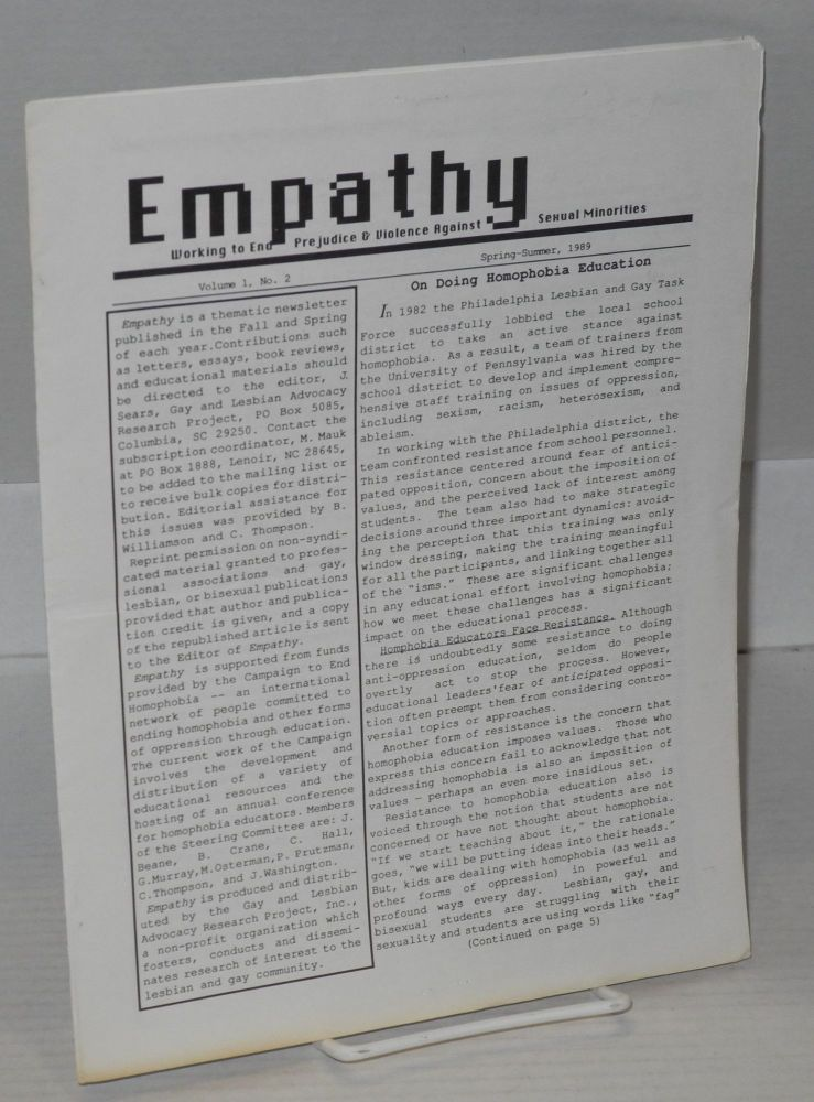 Empathy: working to end prejudice & violence against sexual minorities; vol. 1, #2, Spring-Summer, 1989. James T. Sears.