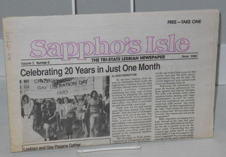 Sappho's isle: the Tri-State lesbian newspaper; volume 2, number 6, June 1989. Jean Sidebottom, publisher/.