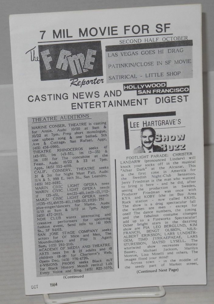 The fame reporter: casting news and entertainment digest; second half October 1984. Lee Hartgrave, Carl Driver, Bob Reed.