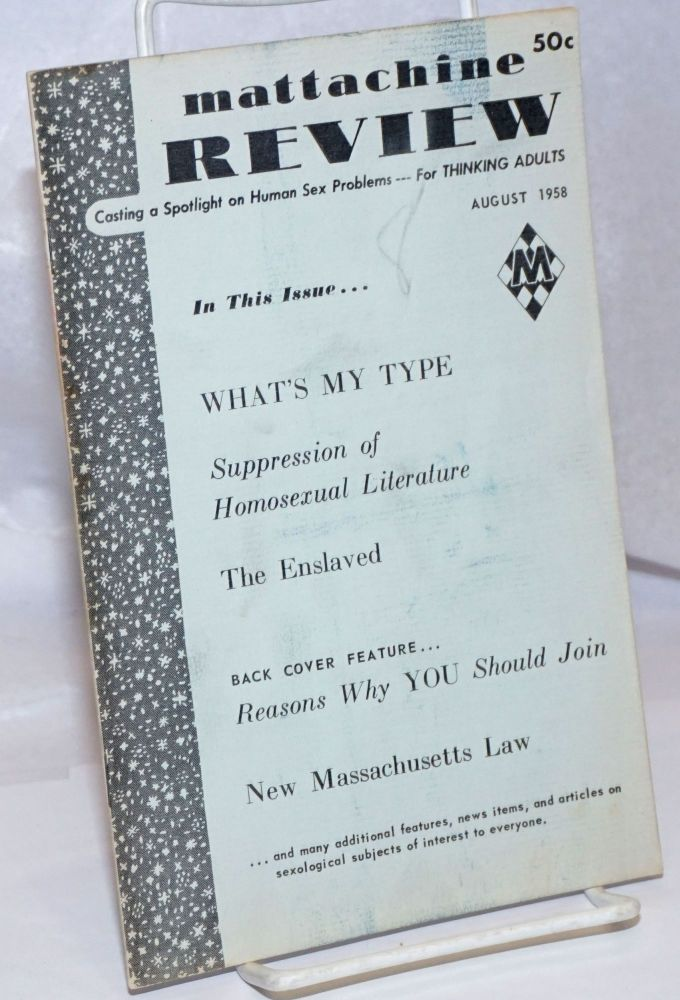 Mattachine review: vol. 4, #8, August, 1958. Hal Call, , Wes Knight, Philip Jason.