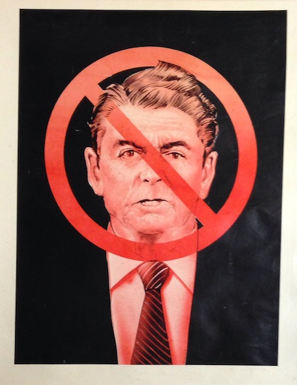 [Poster of Ronald Reagan with his face crossed out, opposing his re-election in 1984]. Punchatz, Don Ivan-?