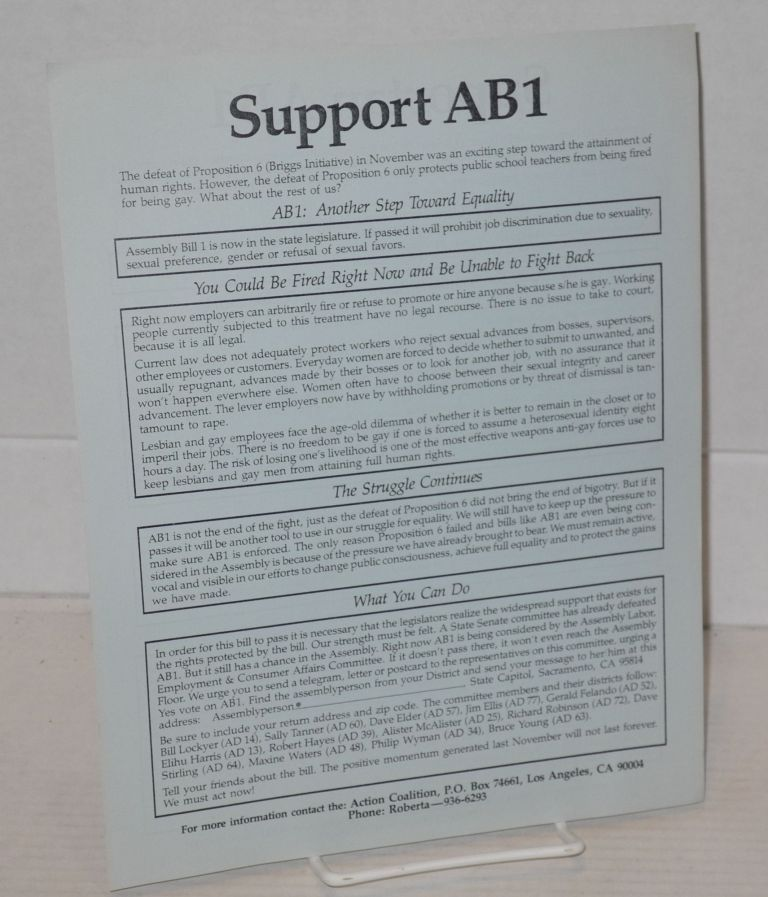 Support AB1 [handbill in English and Spanish]. Action Coalition.