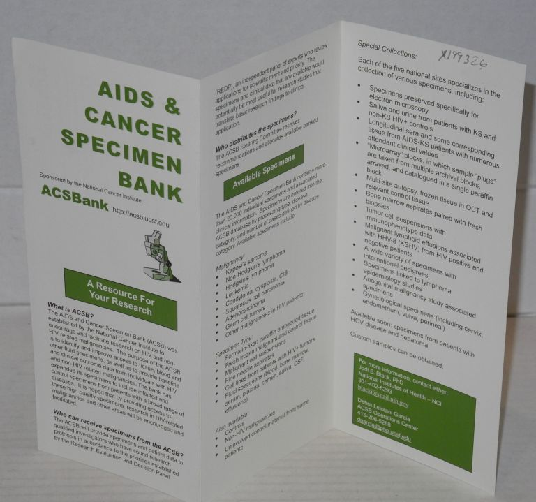 AIDS & Cancer Specimen Bank [brochure]