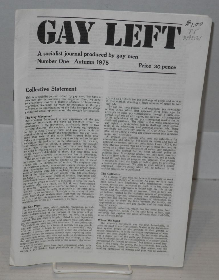 Gay left; a socialist journal produced by gay people, number 1 Autumn 1975