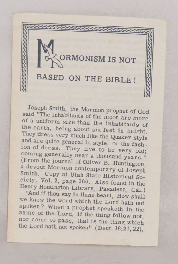 Mormonism is not based on the Bible! Tom Adcock.