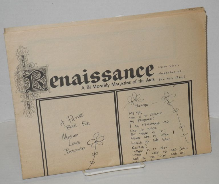 Renaissance: a bi-monthly magazine of the arts; May-June no. 1. Charles Bukowski, Anais Nin, Allen Ginsberg, Lenore Kandel.