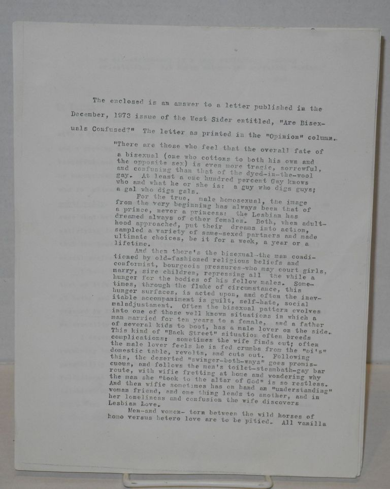 Letter from Michael D. Anderson regarding a letter published in The West Sider in December 1973 [photocopy]. Michael D. Anderson, West Side Discussion Group.