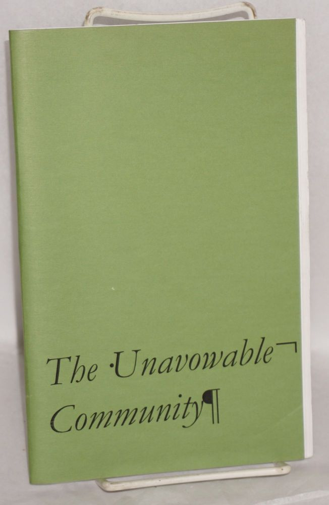 The unavowable community. Maurice Blanchot.