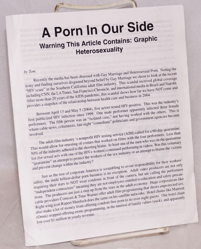 A Porn in Our Side. Warning this article contains: graphic heterosexuality. Tom.