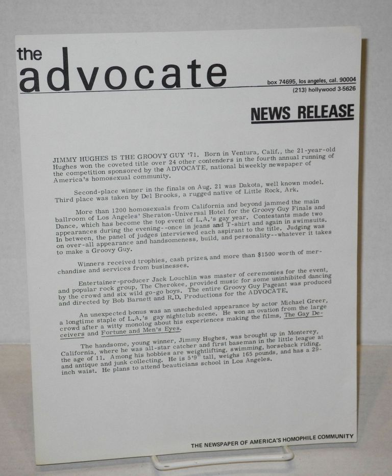 The Advocate: news release [single sheet]