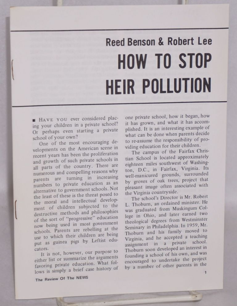 How to stop heir pollution. Reed Benson, Robert Lee.