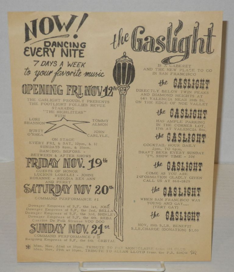 The Gaslight is a cabaret and the new place to go in San Francisco [handbill]