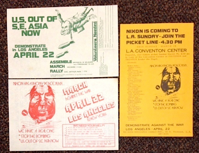 [Three handbills announcing the April 22 anti-war demonstration in Los Angeles]. Student Mobilization Committee.