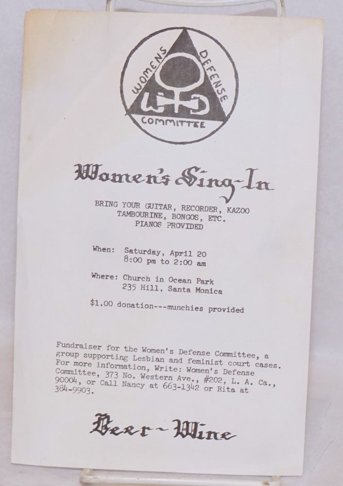 Women's sing-in. Bring your guitar, recorder, kazoo, tambourine, bongos, etc. Pianos provided [leaflet]. Women's Defense Committee.