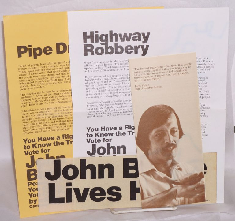 [Four items from the 1971 assembly campaign]. John Blaine, Peace and Freedom Party.