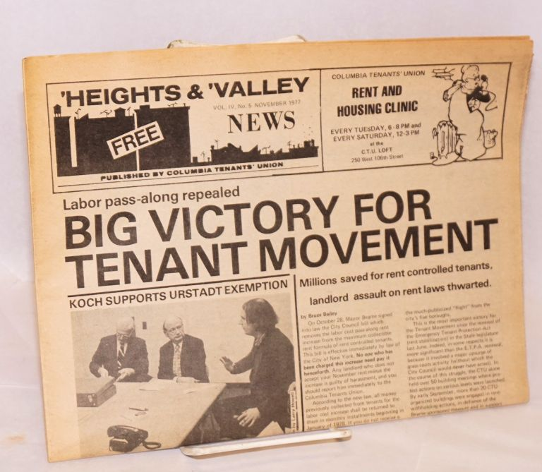 'Heights and 'Valley News. Vol. IV no. 5 (November 1977). Columbia Tenants' Union.