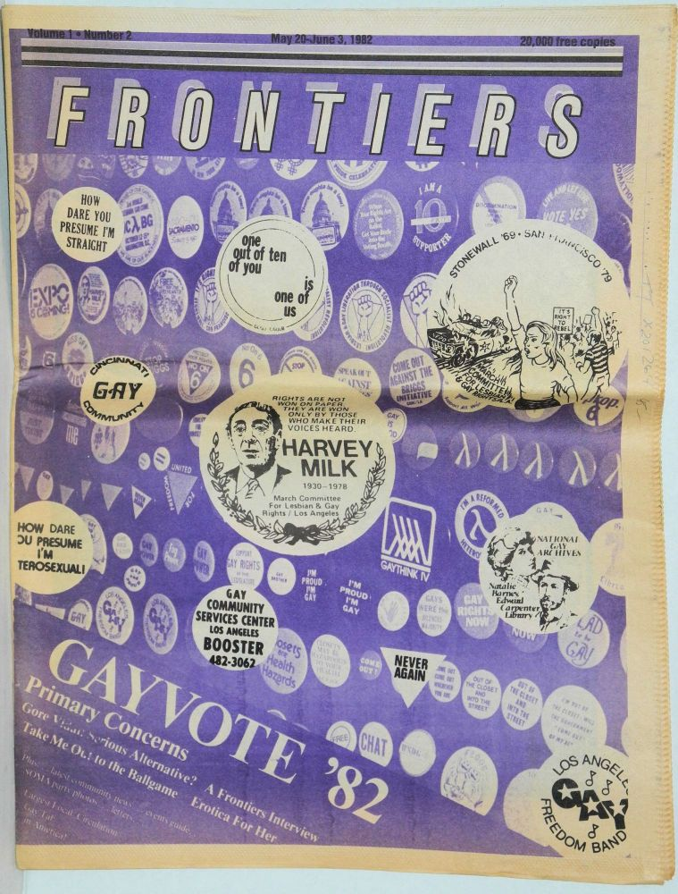 Frontiers: vol. 1, no. 2, May 20 - June3, 1982; Gayvote '82. Greg Carmack.