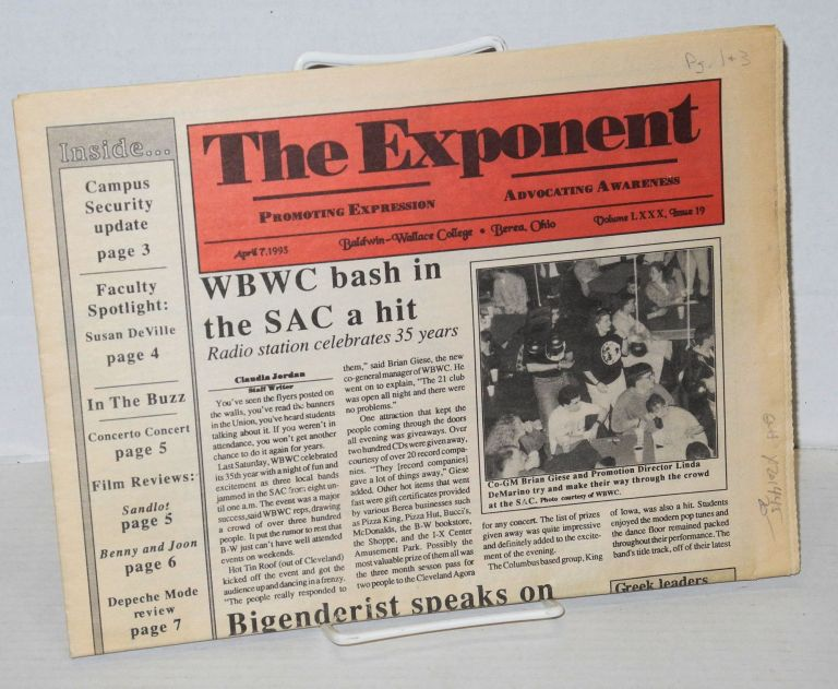 The exponent: promoting expression, advocating awareness; volume 80, #19, April 7, 1993. Ariadne Kane.