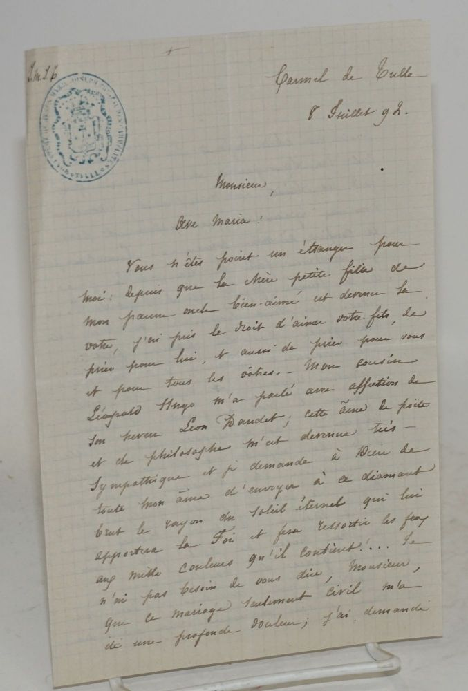 [Letter penned to Alphonse Daudet, about the marriage of Léon Daudet and Jeanne Hugo]. Marie Hugo.
