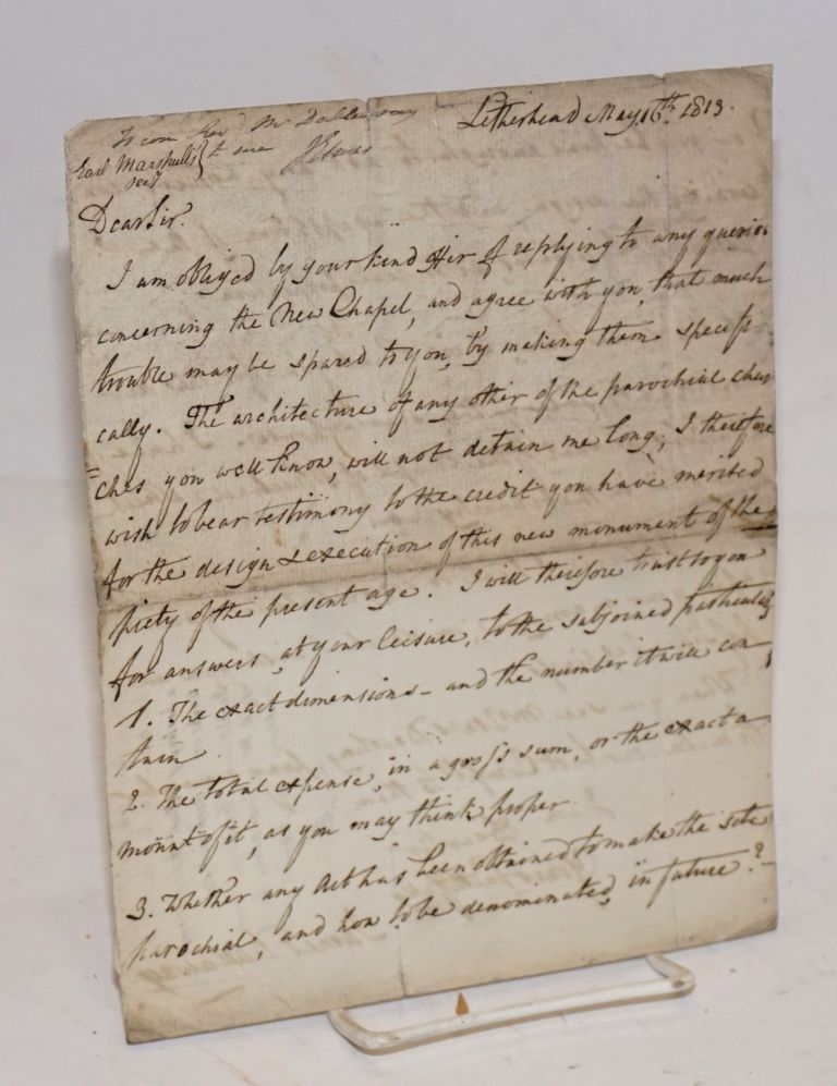[Letter discussing the design of a New Chapel]. James Dallaway.