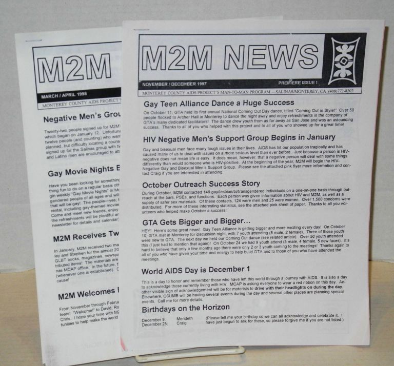 M2M news: Monterey County AIDS Project Man-to-Man Program newsletter: issues 1 & 2, November/December 1997 - March/April 1998 [teo issue run]