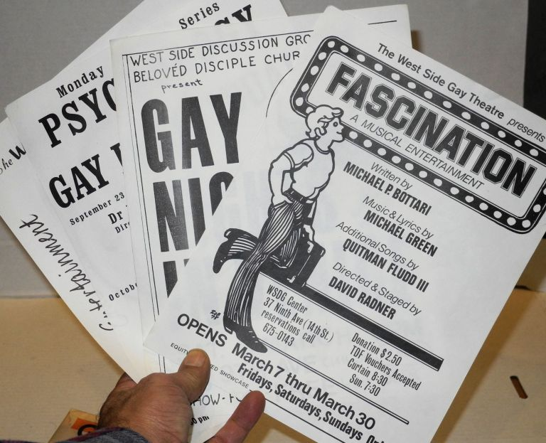 Four handbills for productions at the West Side Center: Fascination, a musical entertainment, Gay nights in Venice, Psychology and the gay individual lecture, & the Annual Gaylord Awards dinner. The West Side Gay Theatre, West Side Discussion Group.