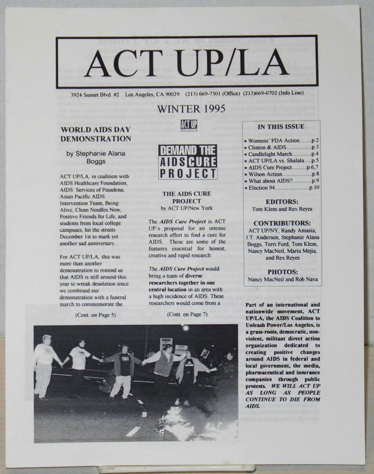 ACT UP/LA Winter 1995. Nancy MacNeil, , J. T. Anderson, Randy Amasia, Act Up Los Angeles.
