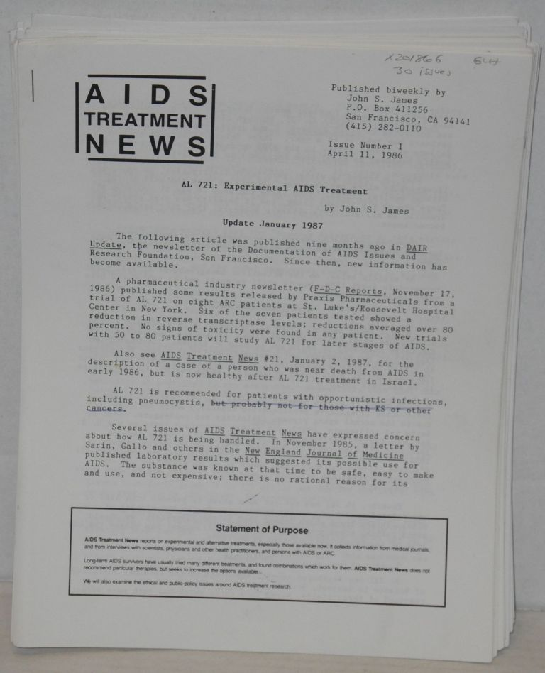 AIDS treatment news: published biweekly broken run of 30 issues. John S. James, and publisher.