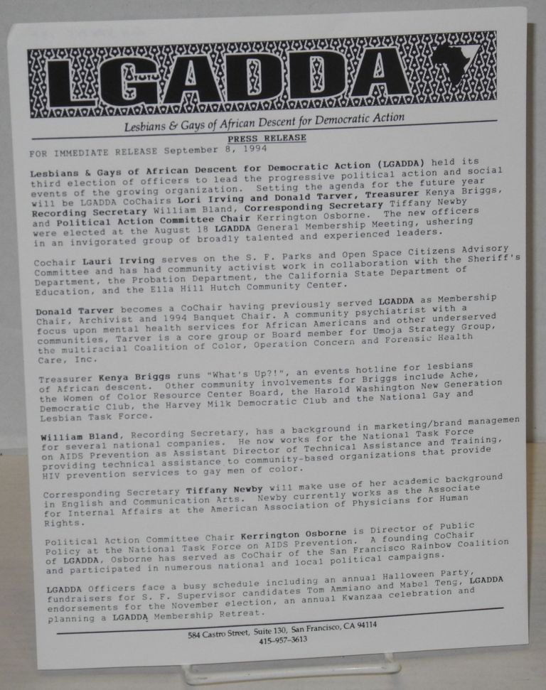 LGADDA Press release: for immediate release September 8, 1994. Lesbians, Gays of African Descent for Democratic Action.