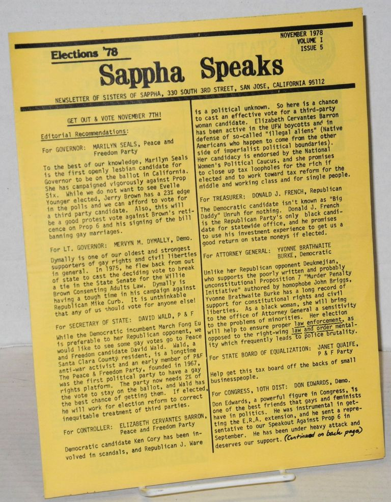 Sappha Speaks: newsletter of Sisters of Sappha vol. 1, #5, November 1978: Elections '78. Nikki Evans, Cyndy Herman.